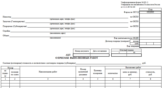 Акт КС-2 о приемке выполненных работ и их сдаче: описание этого документа, возможность скачать бланк утвержденной формы и образец заполнения